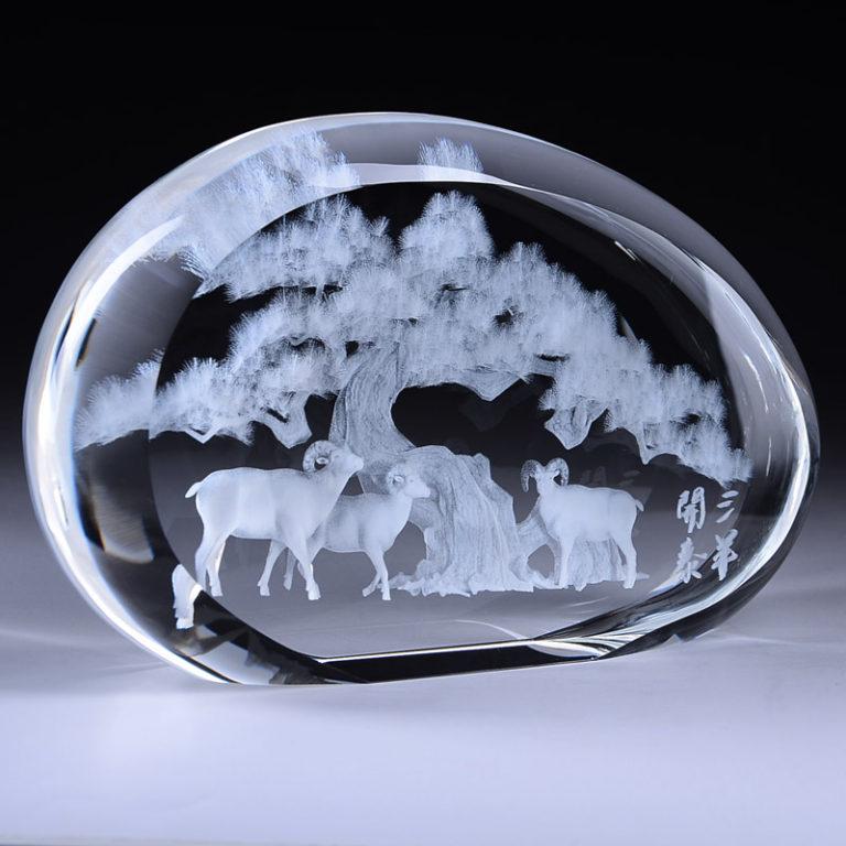 XH96 三羊開泰水晶內雕