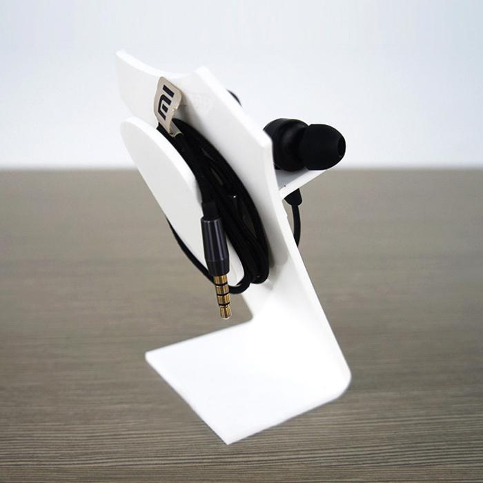白色Z字型耳機展示架